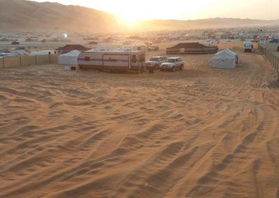 Sonnenuntergang über dem Festivalgelände
